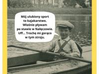 Feliks Dzierżanowski junior wkajaku. Lipiec 1936 nastawie wparku wNałęczowie.