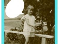 Jadwiga Dzierżanowska wogrodzie przy ławce. Rok 1933.