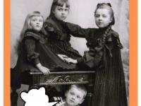 Dzieci Michała Piotra Lasockiego iJadwigi Karskiej. Odlwej: Helena Waleria Lasocka (1895-1958), Lucyna Bronisława Lasocka (1892-1945), Jadwiga Lasocka (1890-1904) ipodstolikiem Leon Stanisław Lasocki (1897-1943). Rok 1898.